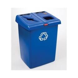 Estacion de Reciclaje Azul de Dos Variantes Rubbermaid Glutton capacidad 174.1 lt clave 256T -73