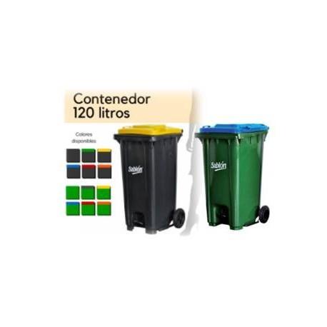 Bote de basura Sablón 120lts con pedal, tapa y 2 ruedas   PL-8326VD