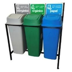 Isla Ecológica de 3 Divisiones para separación de basura de 65lts marca Sablon