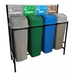 Isla Ecológica de 4 Divisiones para separación de basura de 65lts marca Sablon