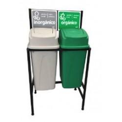Isla Ecológica de 2 Divisiones para separación de basura de 80 lts marca Sablón