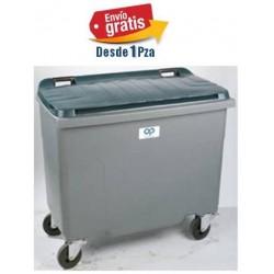 Contenedor de 500lts Plastic Omnium Verde o Gris c/4 ruedas y tapa