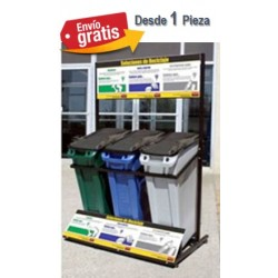 stación de Reciclaje Rubbermaid con 3 Contenedores Slim Jim Clave M_AM8000RSF
